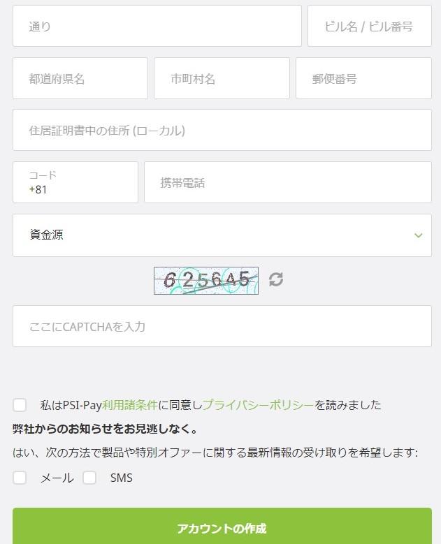 エコペイズアカウント作成フォーム2